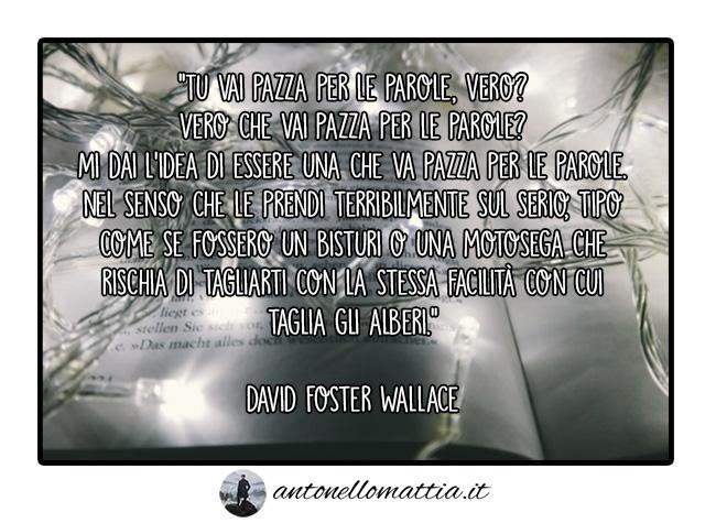 Aforisma – Tu vai pazza per le parole, vero? – David Foster Wallace
